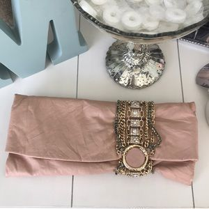 Jimmy Choo Chandra Blush Leather Clutch Handbag